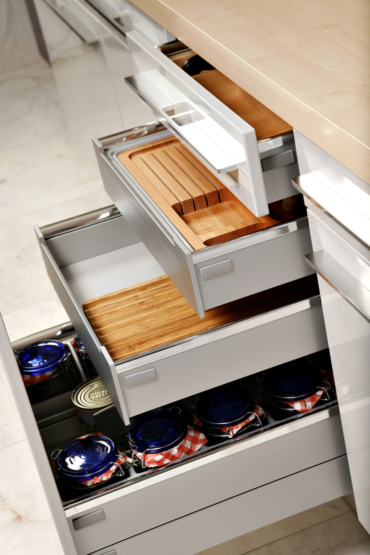 layers of drawers in a kitchen