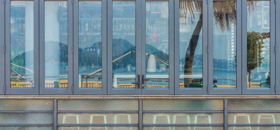 windows outside of a bar