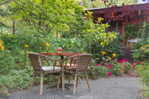 wooden chairs and table in garden by flowers and bushes